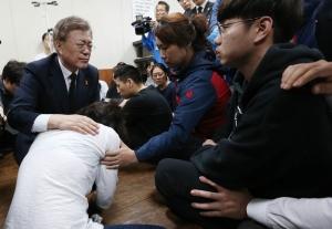 문재인 후보 삼성중공업 크레인 사고 유가족 방문