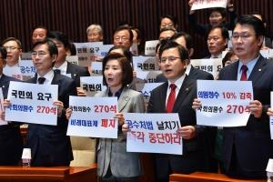 패스트트랙 안건 지정 반발하는 자유한국당