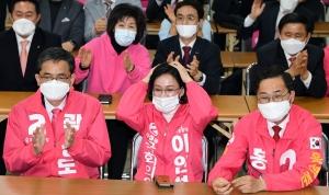 미래통합당 대구시당에서 출구조사 결과 지켜보는 대구경북 후보자들